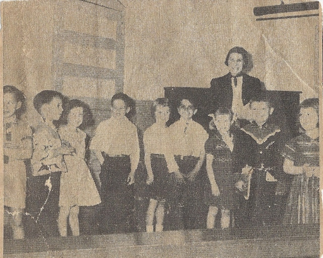 The only picture of my elementary school.  From a newspaper clipping.  I am the second from left.