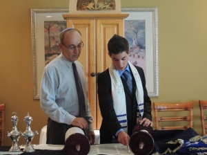 Practicing with the rabbi before the ceremony